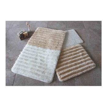 Set 3 covorașe de baie Confetti Bathmats, alb – maro de la Chilai Home by Alessia