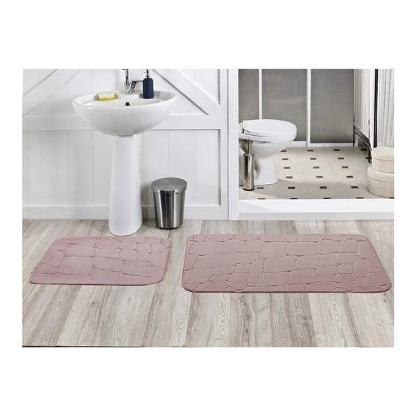 Sada 2 koupelnových koberečků Dekoreko Pudra, 50x60 cm + 60x100 cm