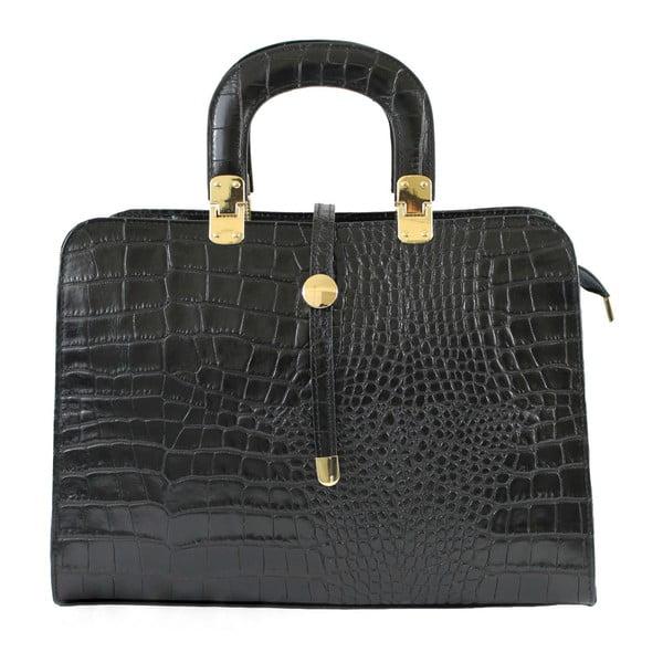 Černá kožená kabelka Lady