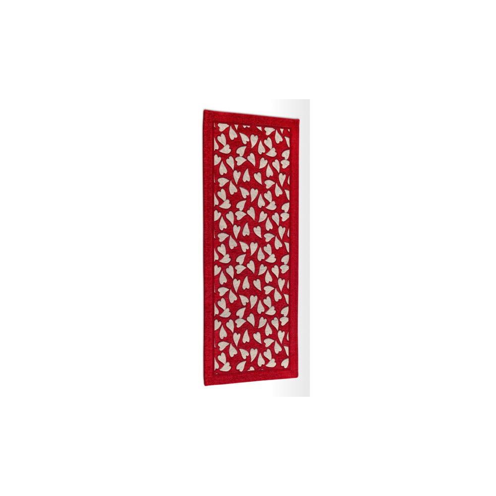 Červený vysoce odolný kuchyňský běhoun Webtappeti Corazon Rosso, 55 x 140 cm