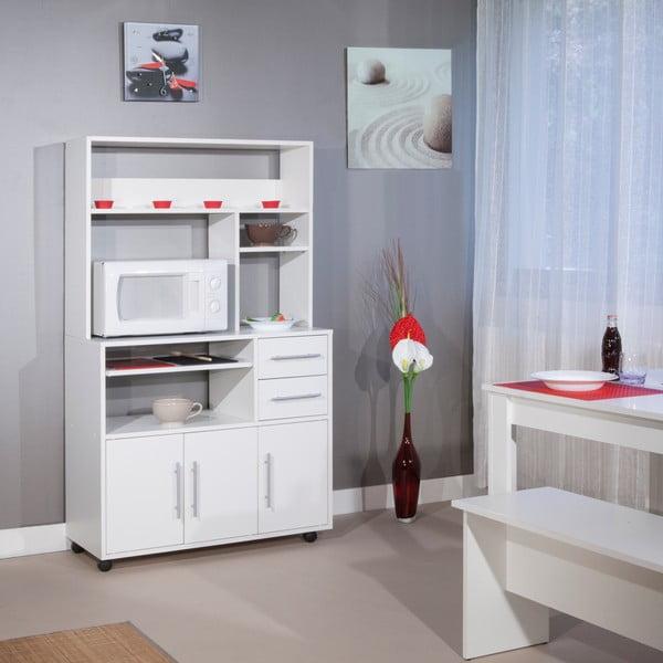 Bílý pojízdný kuchyňský úložný systém s policemi Symbiosis Cesar