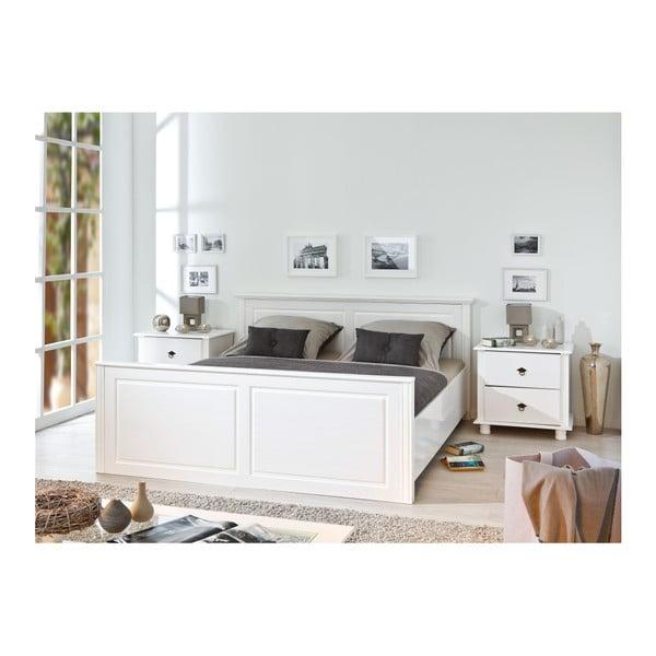 Bílá postel z borovicového dřeva Interlink Danz, 140 x 200 cm