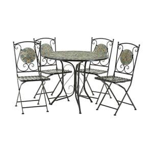Set 4 bledě modrých zahradních židlí s mozaikou a stolku Premier Housewares Amalfi