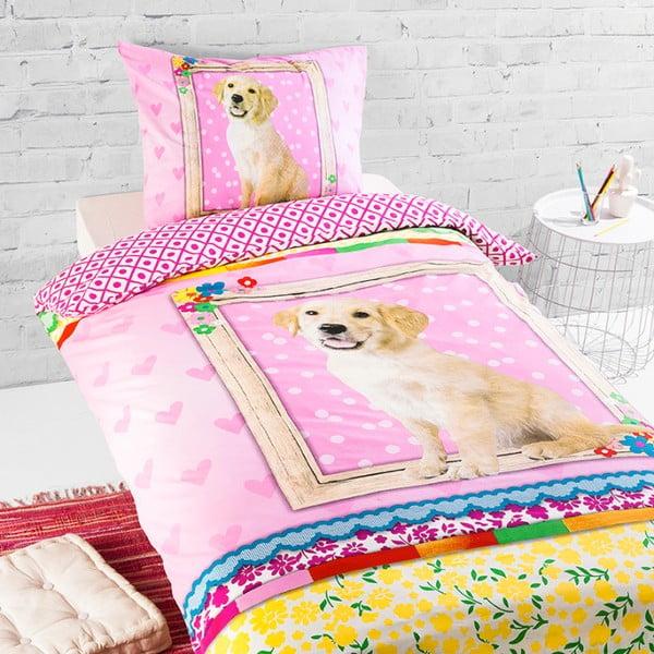 Lenjerie de pat din bumbac pentru copii Ekkelboom Dog Storm, 140 x 200 cm