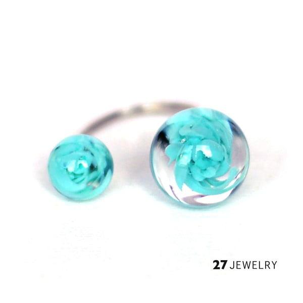 Tyrkysový dvojitý prsten ze skla Enamor, vel. M