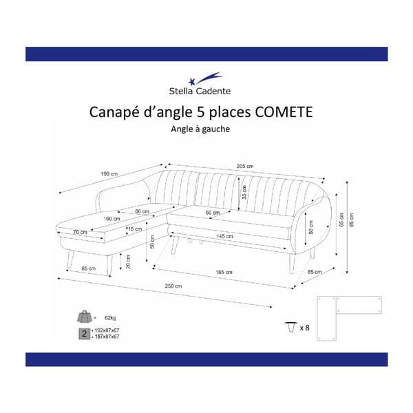 Fialová rohová pohovka Scandi by Stella Cadente Maison Comete, levý roh
