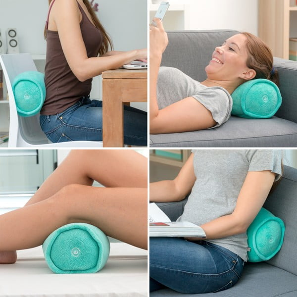 Pernă de masaj cilindrică InnovaGoods, turcoaz