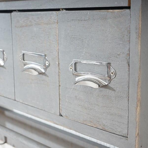 Dřevěný šedý nástěnný stojan s háčky a šuplíčky Mendler Shabby