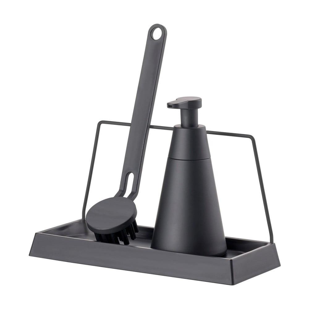 Černý třídílný set na mytí nádobí Zone Geo