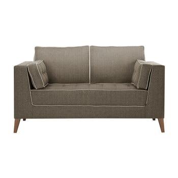 Canapea cu 2 locuri cu detalii crem Stella Cadente Maison Atalaia Light Brown maro deschis