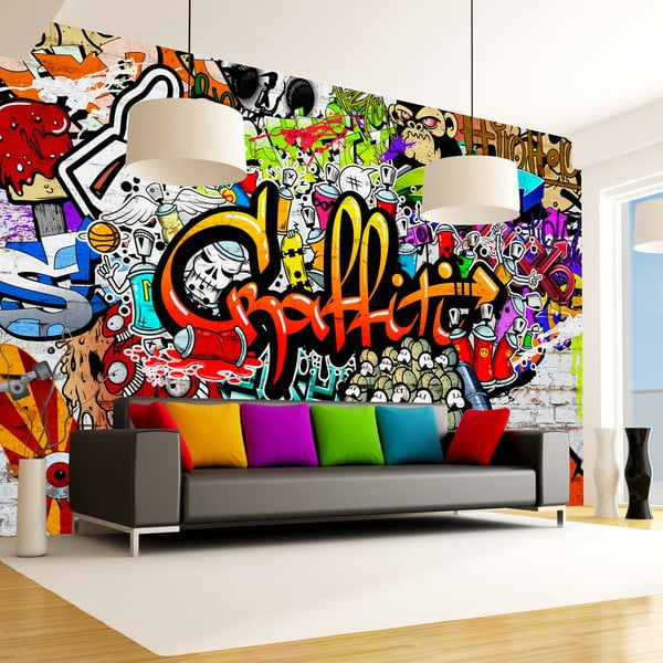 Tapet format mare Bimago Colourful Graffiti, 300 x 210 cm