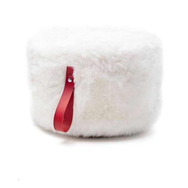 Bílo-červený kulatý puf z ovčí vlny Royal Dream