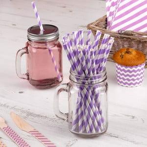 Sada 25 fialových papírových brček Neviti Carnival