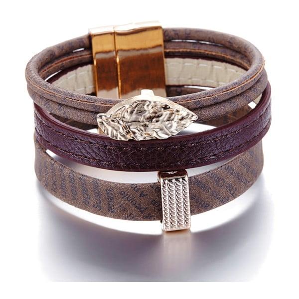 Barna bőr karkötő Swarovski elemekkel