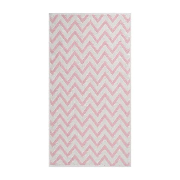 Pudrově růžový odolný koberec Vitaus Zikzak, 140 x 200 cm
