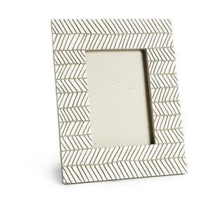 Světle šedý keramický fotorámeček Simla Fishbone, 23x18cm