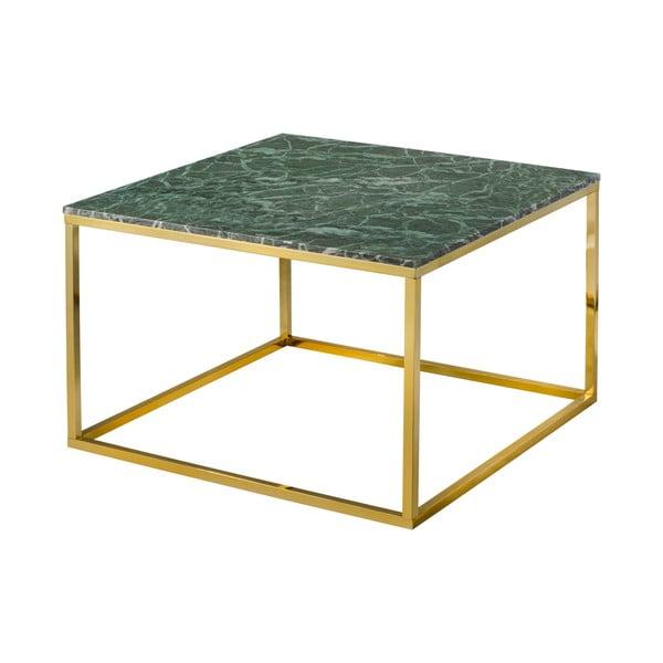 Stolik z konstrukcją w złotym kolorze i zielonym marmurowym blatem RGE Accent
