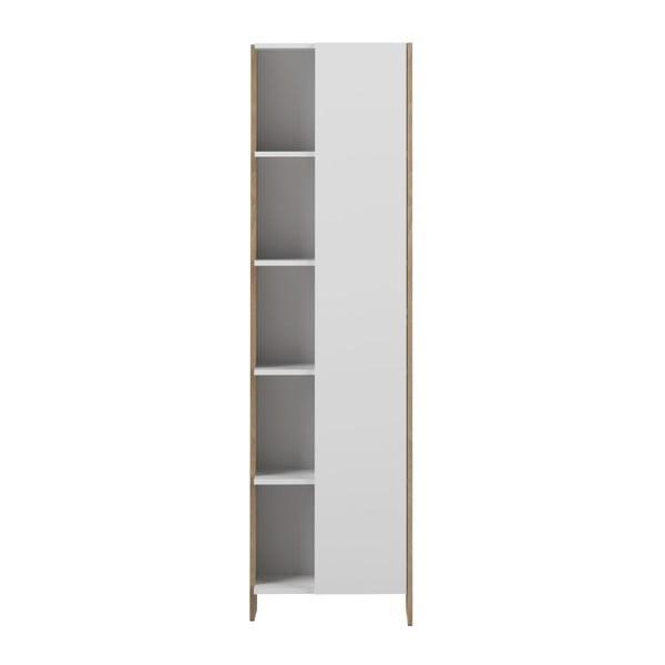 Biela kúpeľňová skrinka s hnedým korpusom TemaHome Biarritz, výška 180cm