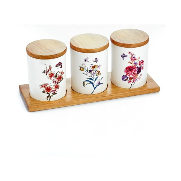 Set 3 porcelánových dóz s bambusovým podnosem Ieria