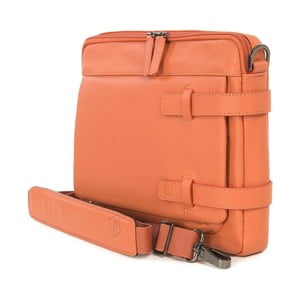 Oranžová taška s ramenním popruhem z italské kůže Tucano Tema