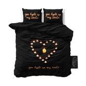 Černé povlečení z mikroperkálu na jednolůžko Sleeptime Love Candles,160x200cm