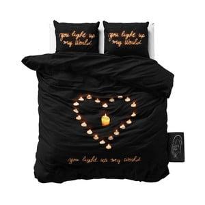 Lenjerie de pat din micropercal Sleeptime Love Candles, 160 x 220 cm, negru