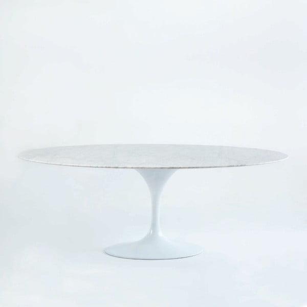 Bílý jídelní stůl s mramorovou deskou Thai Natura