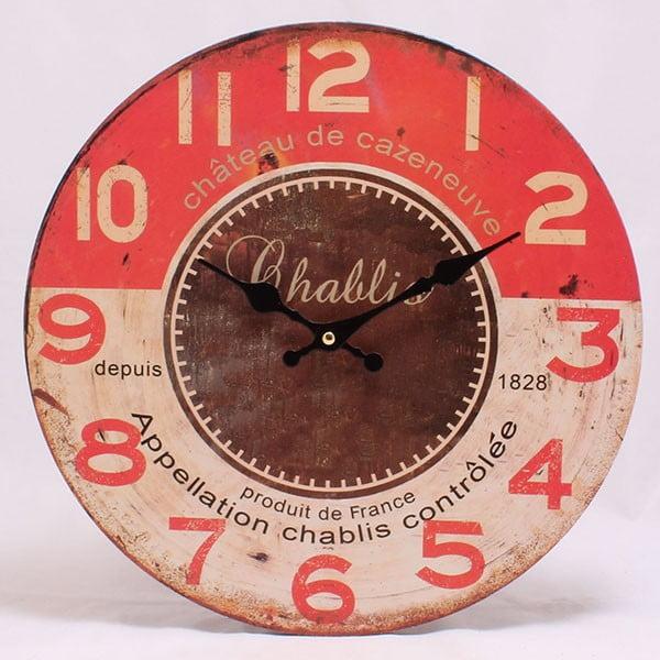 Dřevěné hodiny Chablis, 34x34 cm