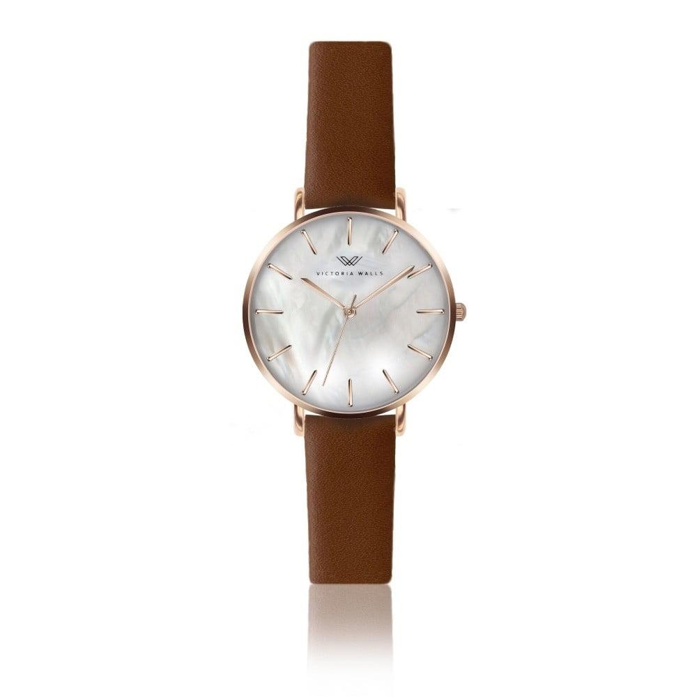 Dámské hodinky s hnědým koženým řemínkem Victoria Walls Pearl