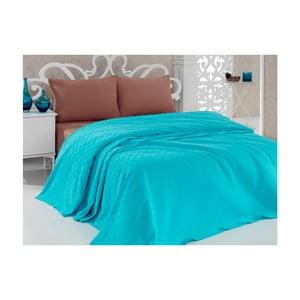 Tyrkysový bavlněný lehký přehoz přes postel Taduro, 200 x 240 cm
