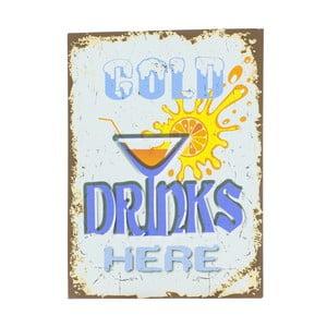 Nástěnná cedule Novita Cold Drinks, 30x40cm