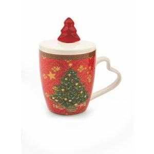 Vánoční hrnek s víkem z kostního porcelánu Villa d'Este XMAS Rosso