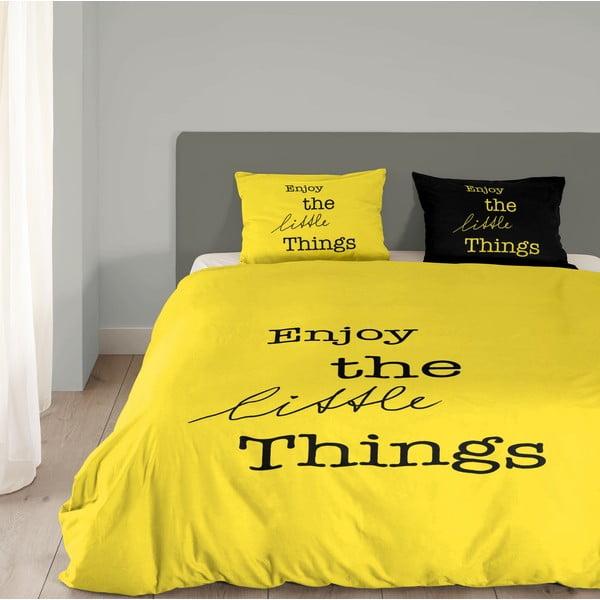 Žluté bavlněné povlečení Müller Textiel Enjoy, 200x200cm