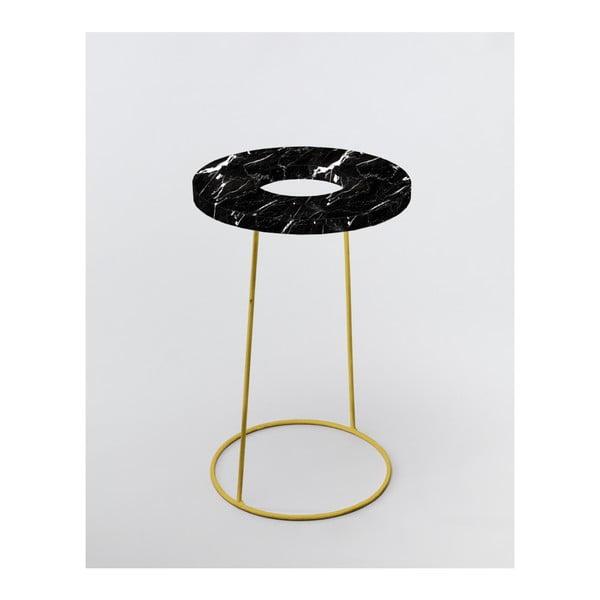 Černý stojan na deštníky/květináč v dekoru mramoru Velvet Atelier