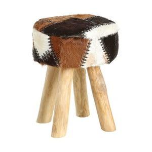 Stolička z recyklovaného teakového dřeva s kožešinovým sedákem Denzzo Aakif