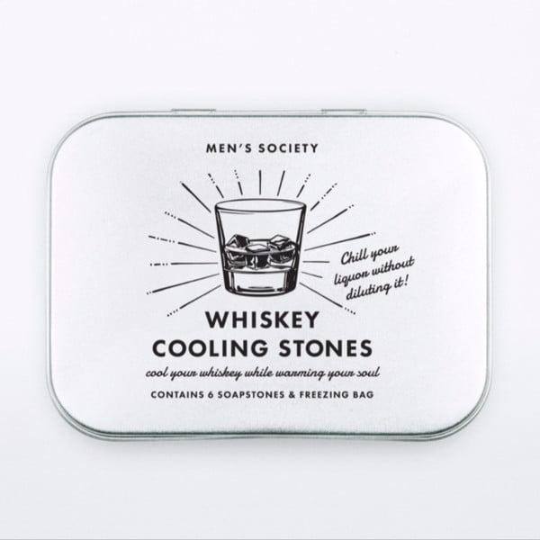 Sada 6 chladících kamenů do whiskey s pytlíčkem Men's Society New Whiskey