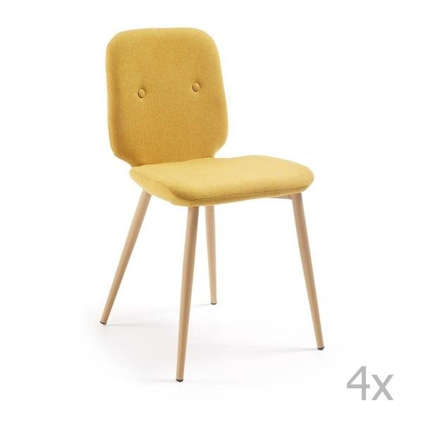 Sada 4 žlutých židlí La Forma Stem