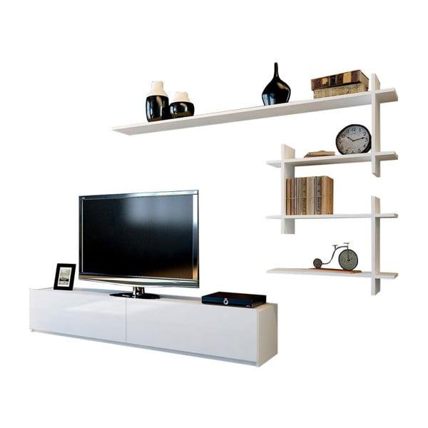 Komplet białej szafki pod TV i półki Ahenk