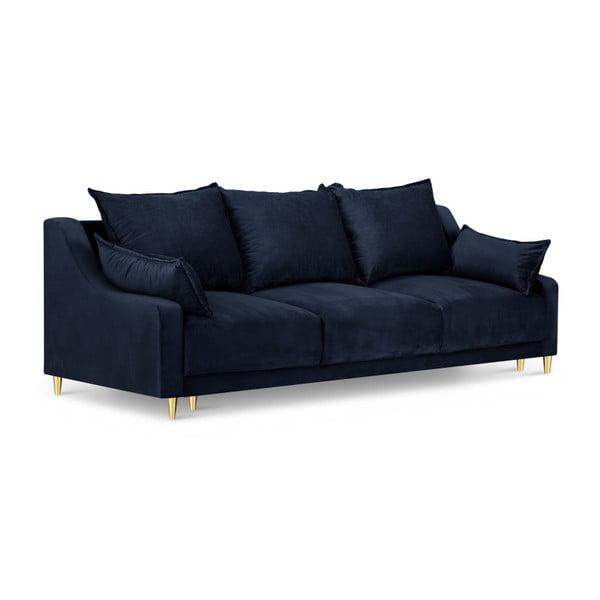 Ciemnoniebieska 3-osobowa sofa rozkładana z miejscem do przechowywania Mazzini Sofas Pansy