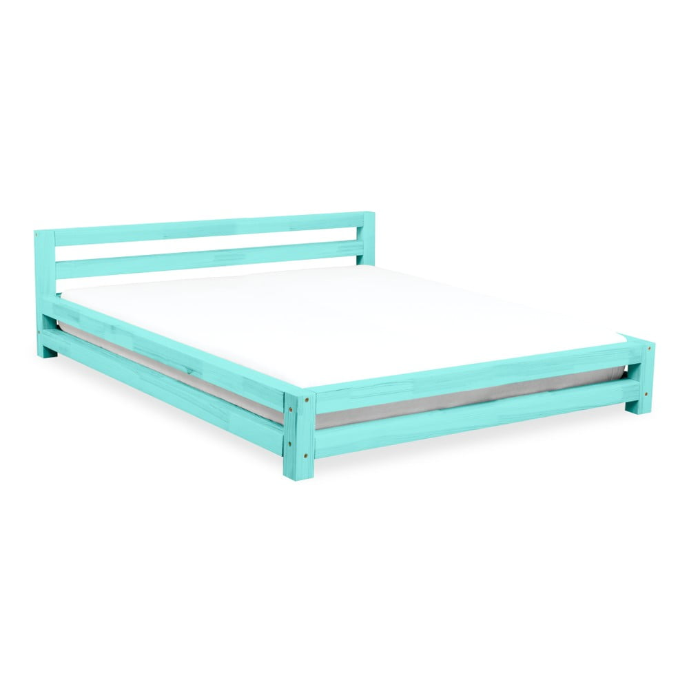 Tyrkysová dvoulůžková postel z borovicového dřeva Benlemi Double, 160 x 200 cm
