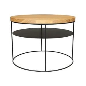 Černý konferenční stolek s deskou z dubového dřeva take me HOME Nysa, ⌀60cm
