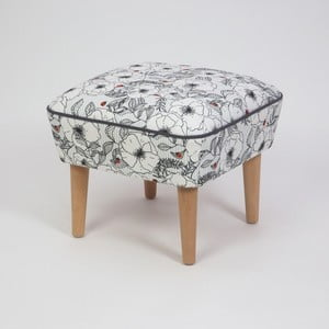 Taburet s dřevěnými nohami Damo Mariquita, 45x45cm