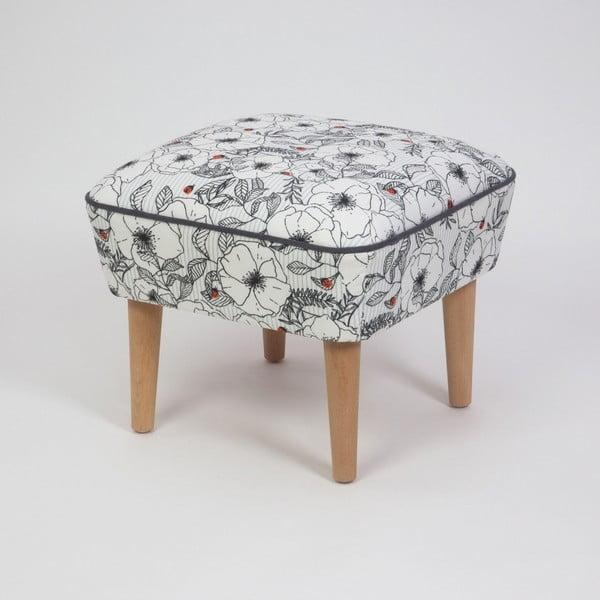 Taburet s drevenými nohami Damo Mariquita, 45 × 45 cm