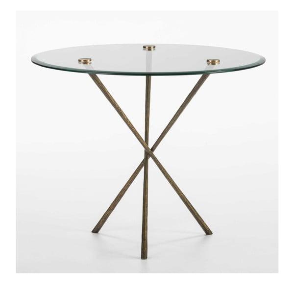 Jídelní stůl ze skla a železa Thai Natura, Ø 92 cm