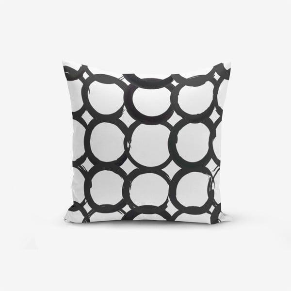 Față de pernă cu amestec din bumbac Minimalist Cushion Covers Ring Modern BW, 45 x 45 cm