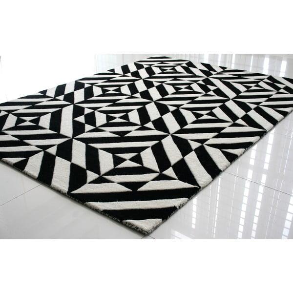 Vlněný koberec Espejo Black White, 200x300 cm