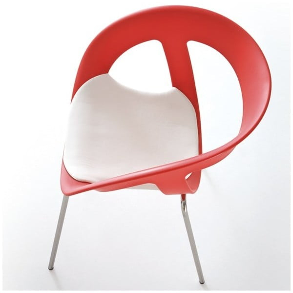 Set 2 červených židlí Moema, chromové nohy