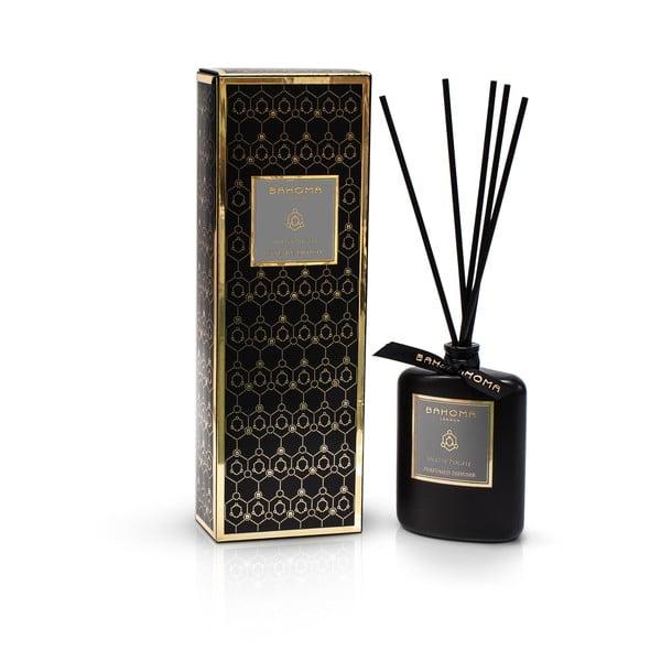 Čierny vonný difuzér v škatuľke s vôňou jazmínu a vanilky Bahoma London Diffuser, 100 ml