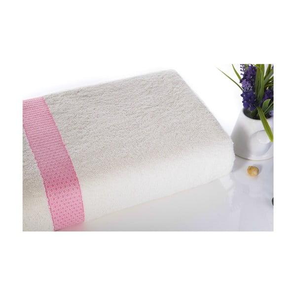 Růžovo-bílá bavlněná osuška Ladik Alice,70x140cm