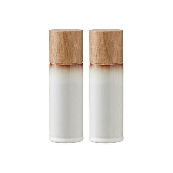 Sada 2 krémových kameninových mlýnků na sůl a pepř Bitz Basics Cream